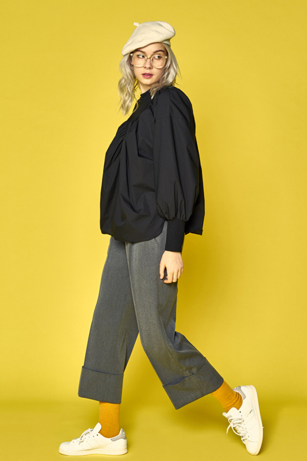 ANOTHER A Wide Leg Crop Trousers- Grey1
